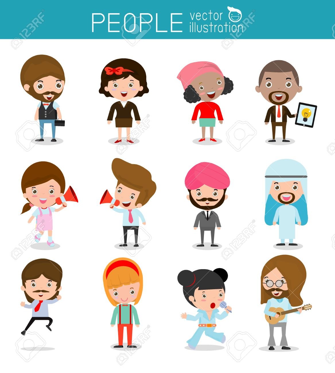 people characters, large group of people, Set of diverse business people in flat style isolated on white background, Different nationalities and dress styles .flat modern design - 49099731