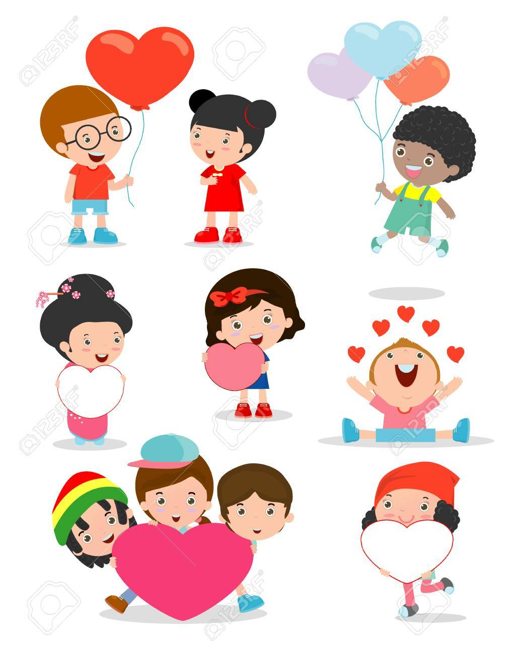 Kids With Heart On White Background Happy Valentine S Day Royalty Free Cliparts Vectors And Stock Illustration Image 50775295