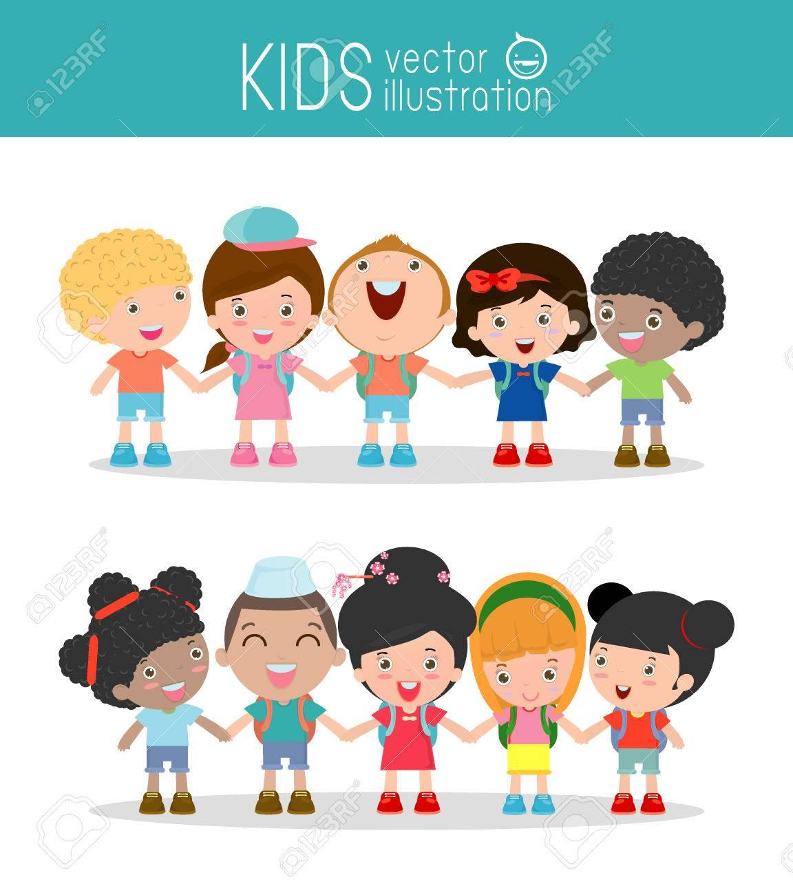 kids holding hands on white background , Multi-ethnic children holding hands, Many happy children holding hands , Vector Illustration - 50995656