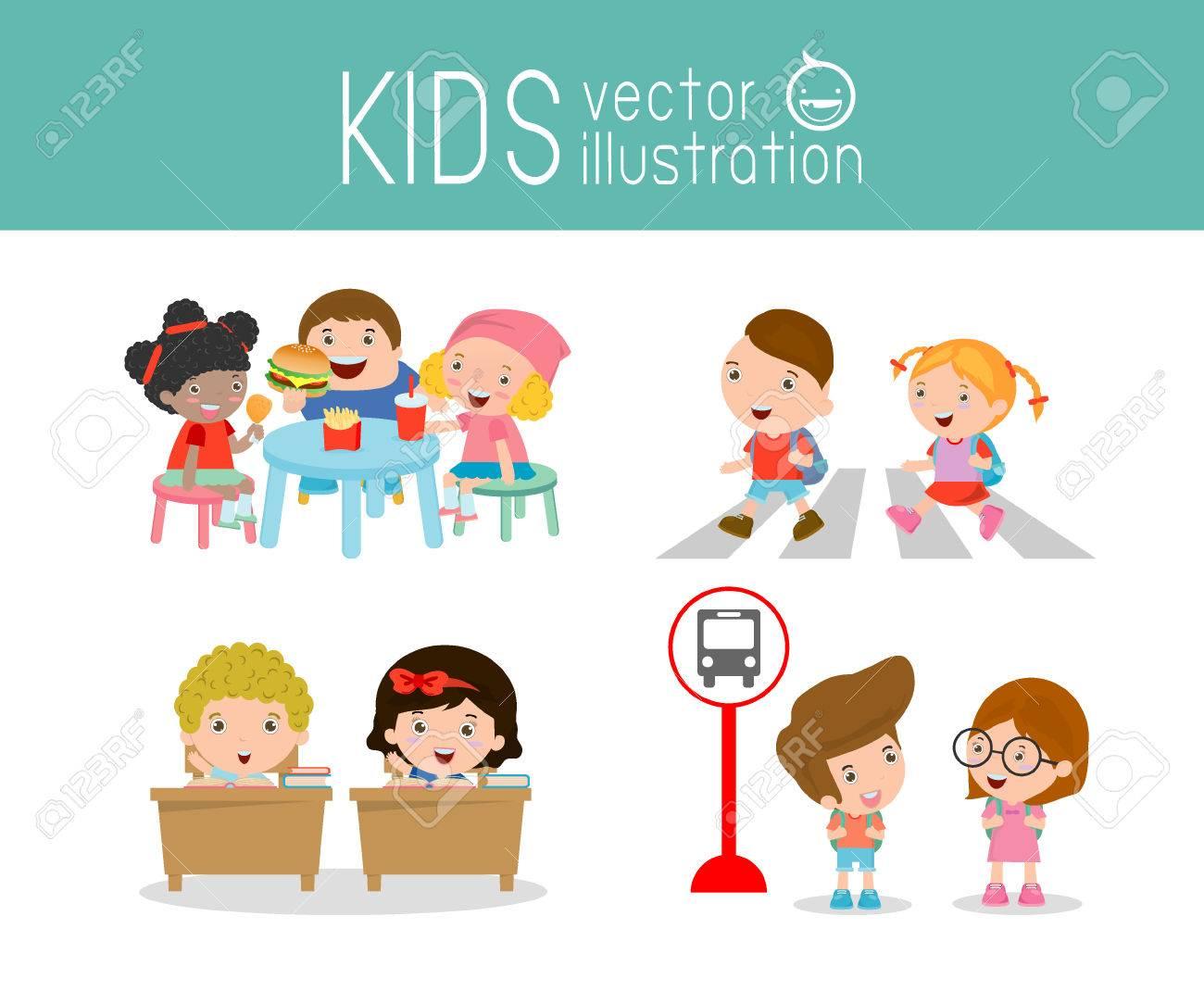 Kinder-Aktivität Im Kindergarten Und Im Freien, Kinder Essen Im ...