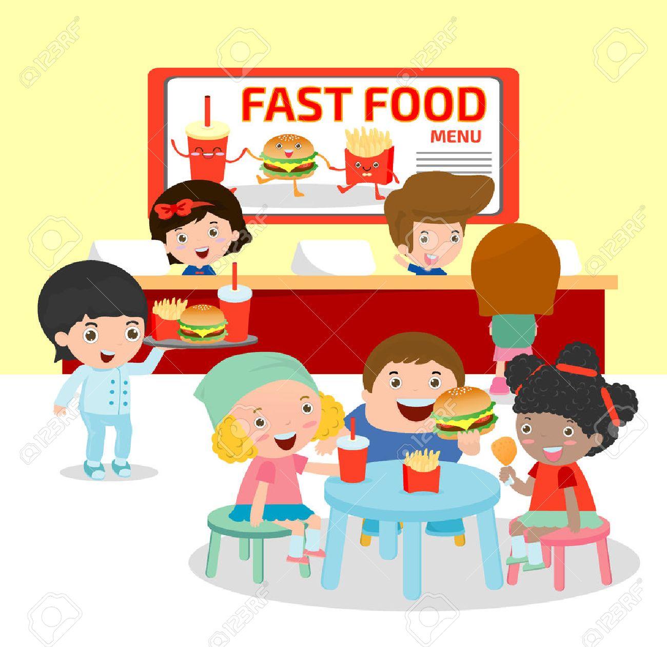 子供イラストファーストフードのレストランで料理を注文ファースト