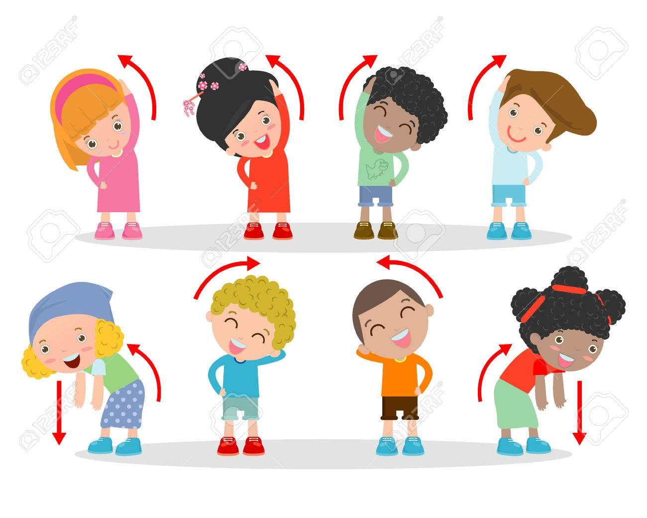 Illustration of Kids Exercising, Kids exercising ,child exercising , happy Kids Exercising - 52521129
