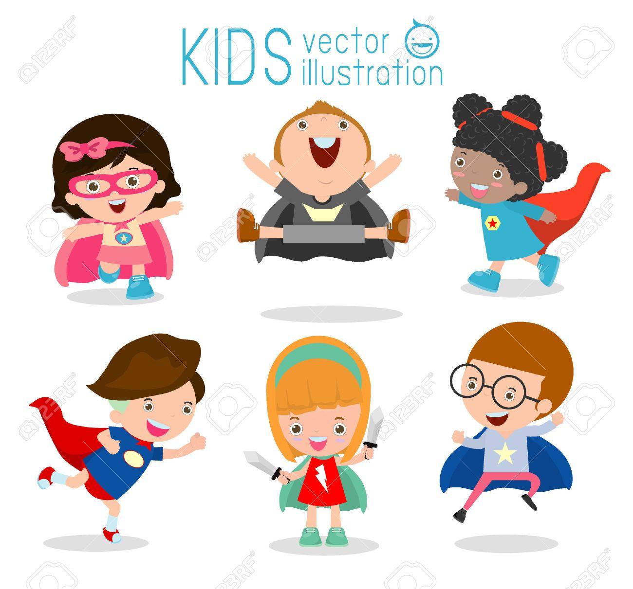 Superhero Children's, Superhero Kids,Kids With Superhero Costumes set, kids in Superhero costume characters isolated on white background, Cute little Superhero, Children's collection - 52524093