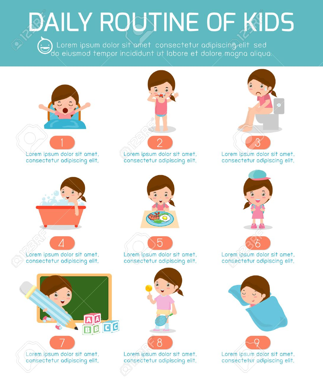 foto de archivo la rutina diaria la rutina diaria de los nios felices elemento de infografa la salud y la higiene las rutinas diarias para los nios