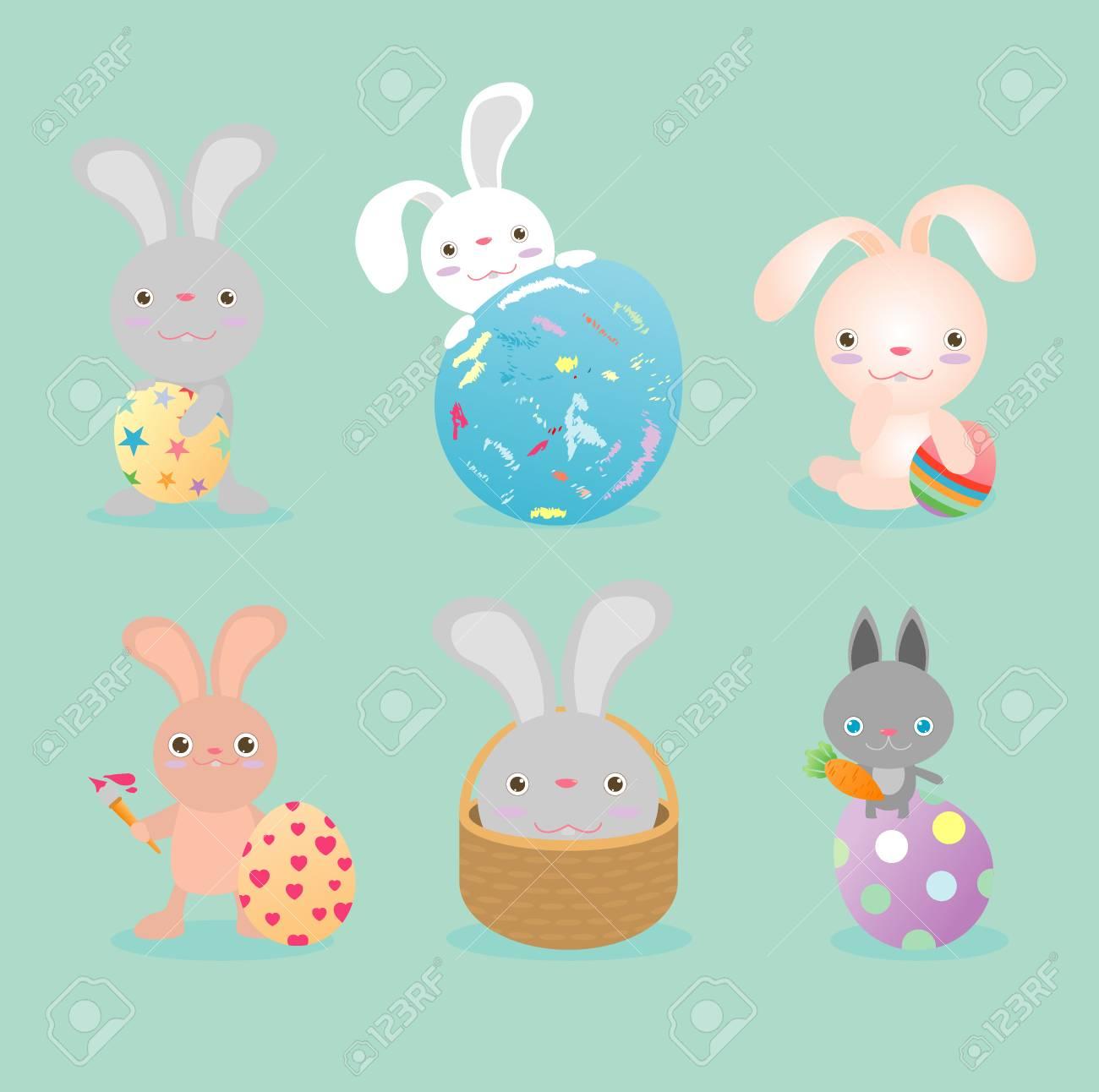 Set Von Niedlichen Osterhasen Mit Ostereier Fröhliche Ostern Frohe