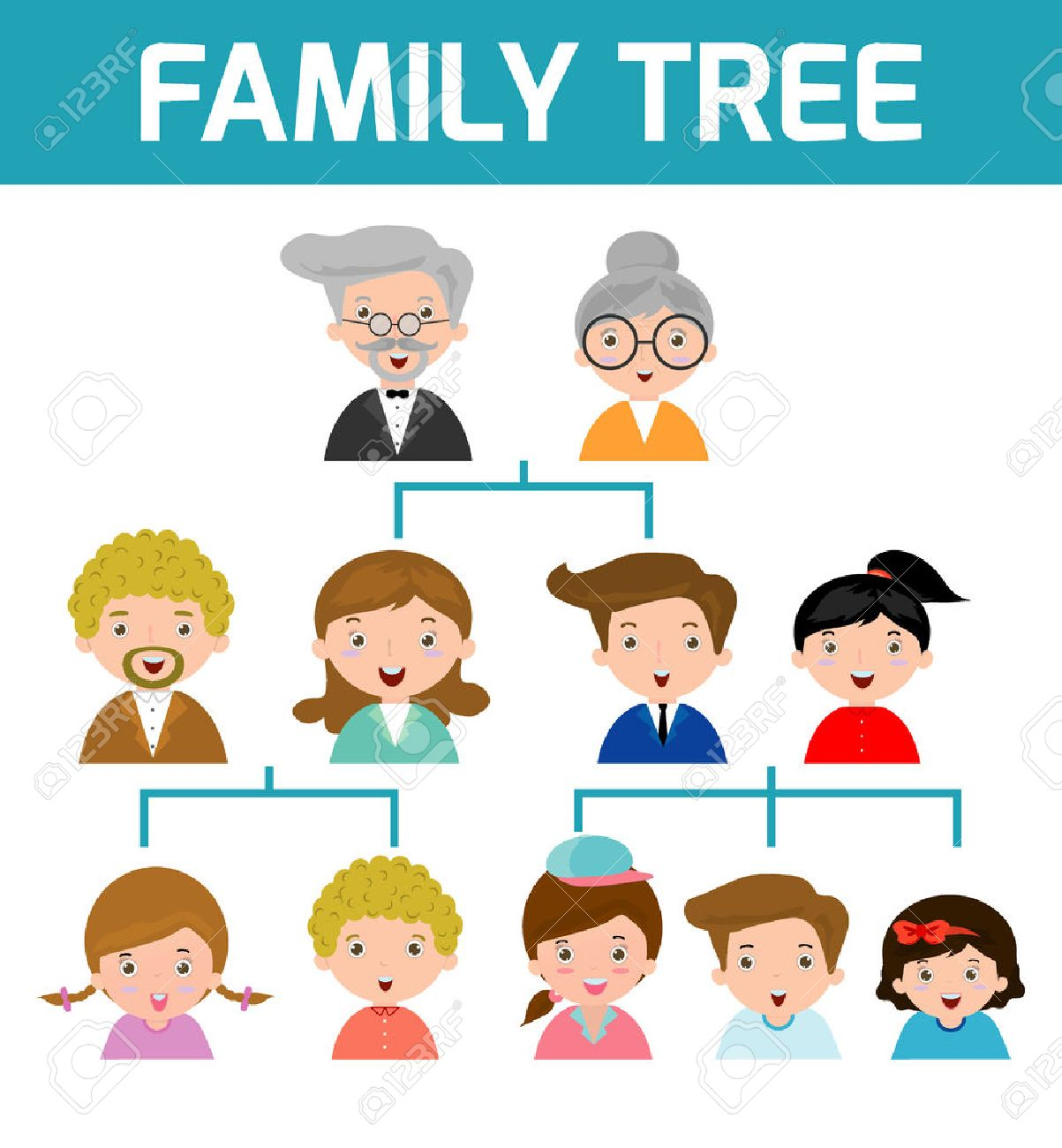 Family Tree, diagram of members on a genealogical tree, isolated on white background, Cartoon vector illustration of family tree, big famoly vector Illustration - 55744552