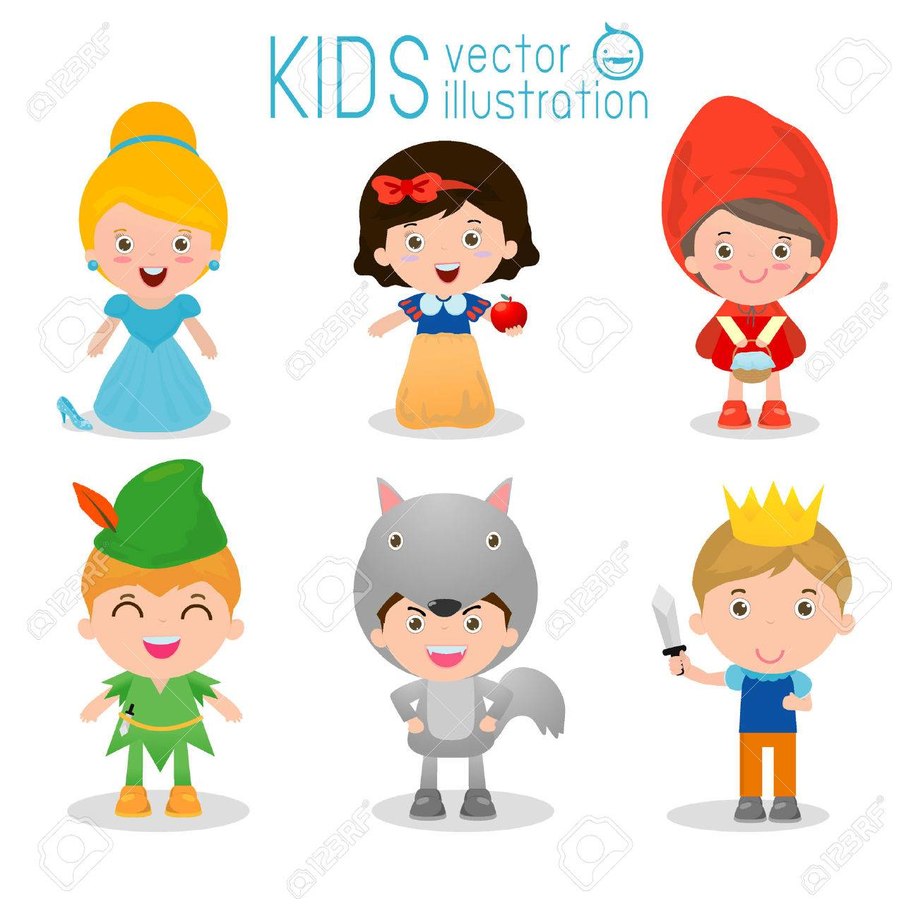 Set of cute kids wearing story costumes isolated on white background, Little children in their fairy tale Costumes,cartoon story people, cute child in costume ,child and fairytale story, Vector - 55600726
