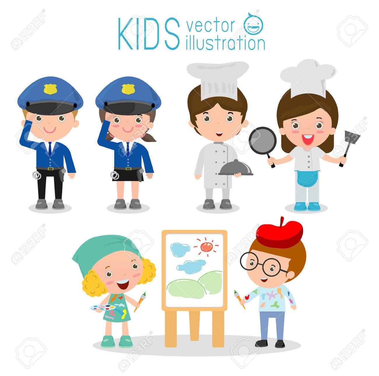 set of cute professions for kids isolated on white background