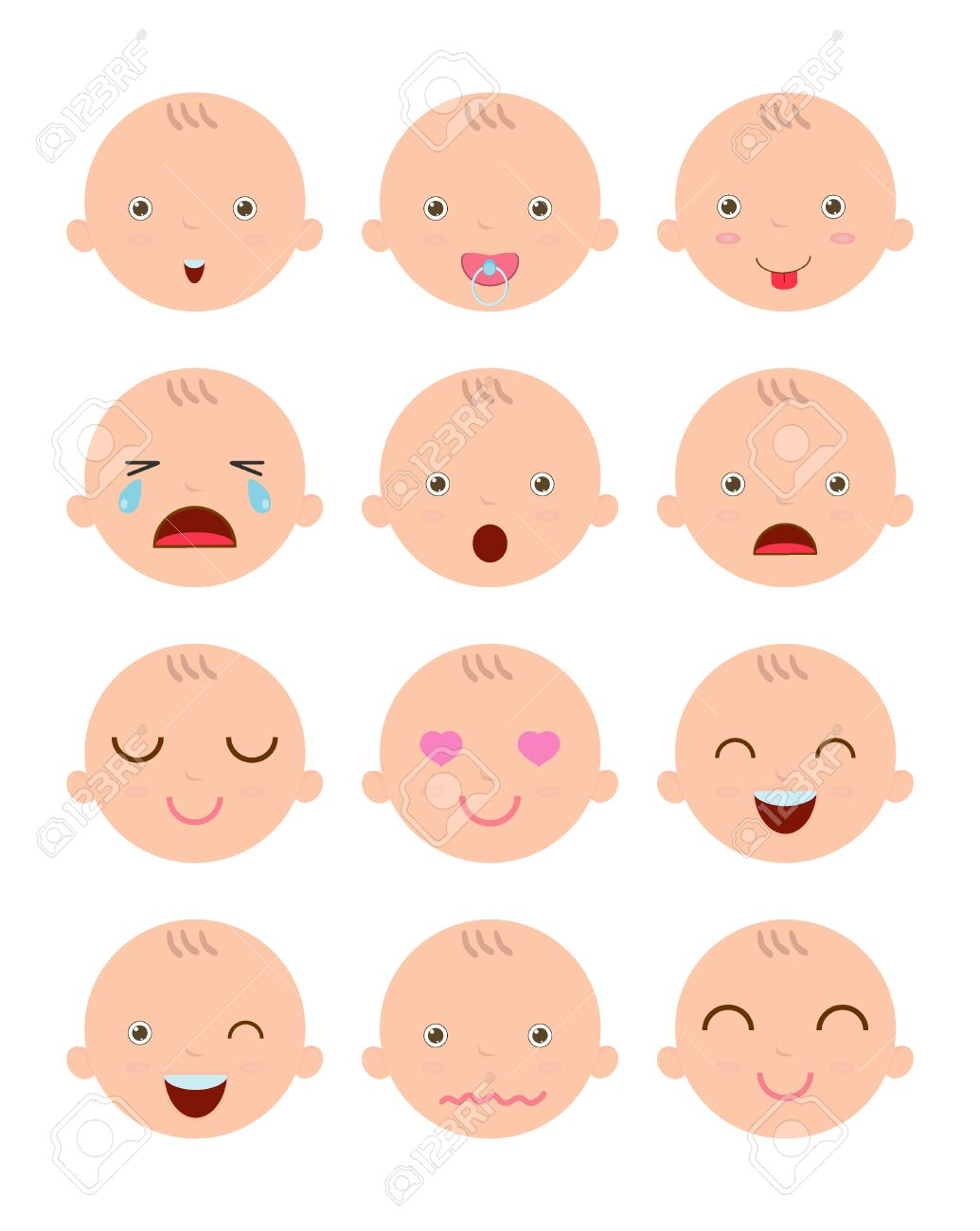 set of cute baby emoticons adorable baby emotions flat modern