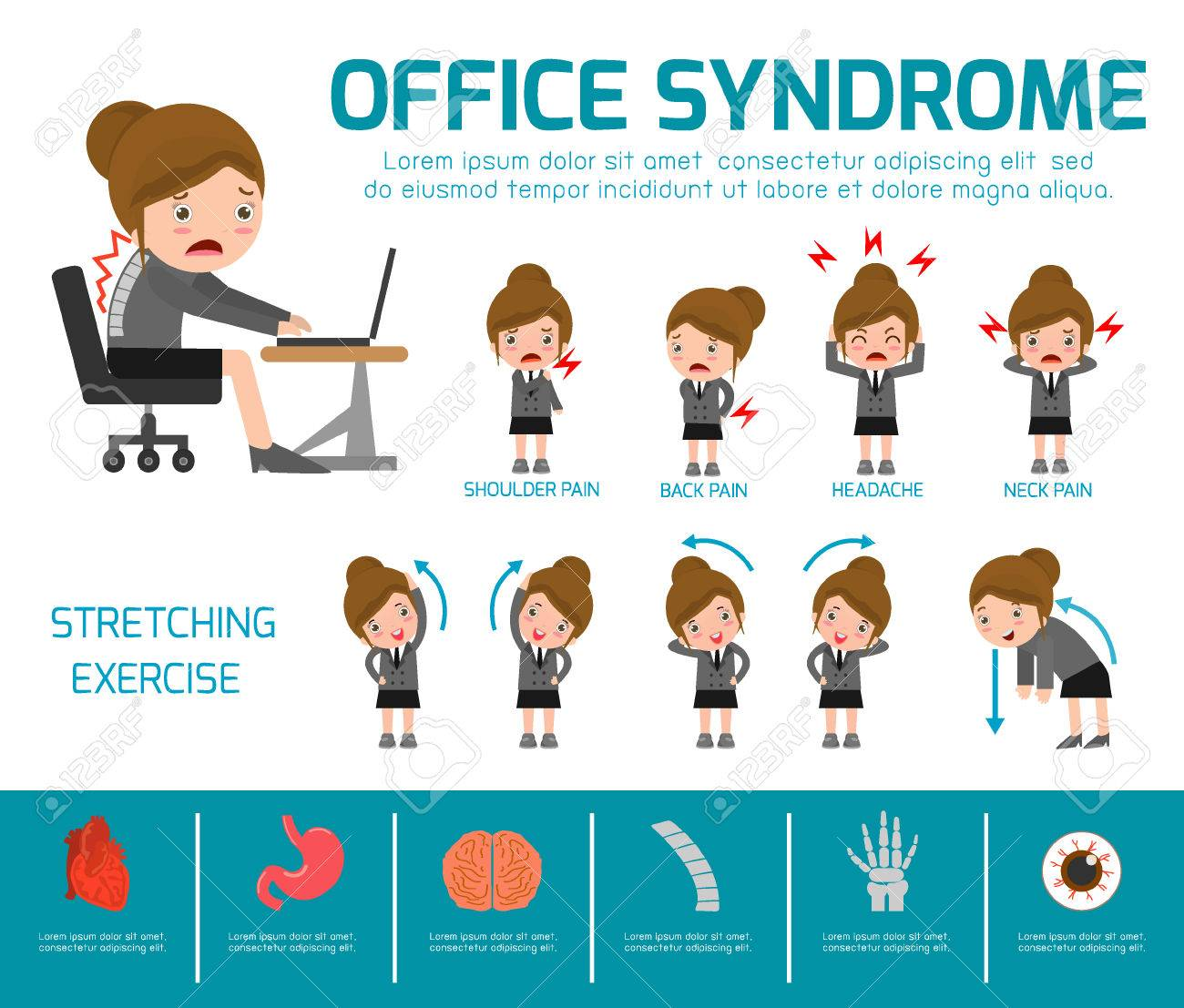 Office syndrome. health care concept. infographic element. vector flat icons woman cartoon design. brochure poster banner illustration. isolated on white background - 55598880
