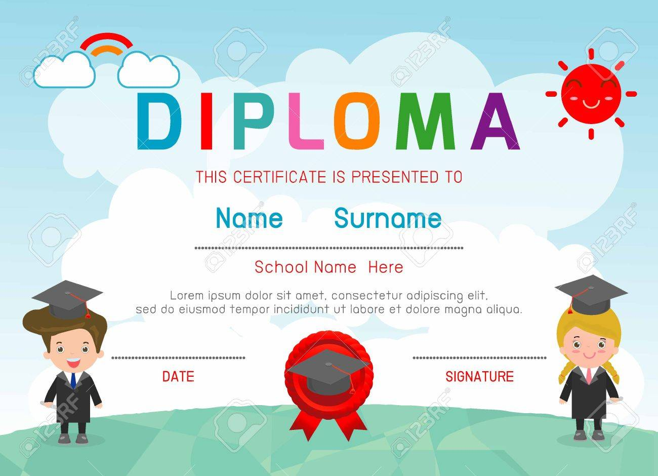 Certificates kindergarten and elementary preschool kids diploma certificates kindergarten and elementary preschool kids diploma certificate background design template diploma template for alramifo Image collections