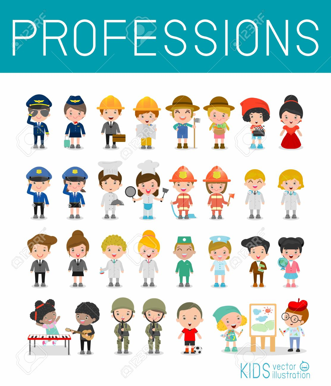 Kids Vector Characters Collection isolated on white background, professions for kids, children profession, different people professions characters set, kids profession, different professions - 57841091