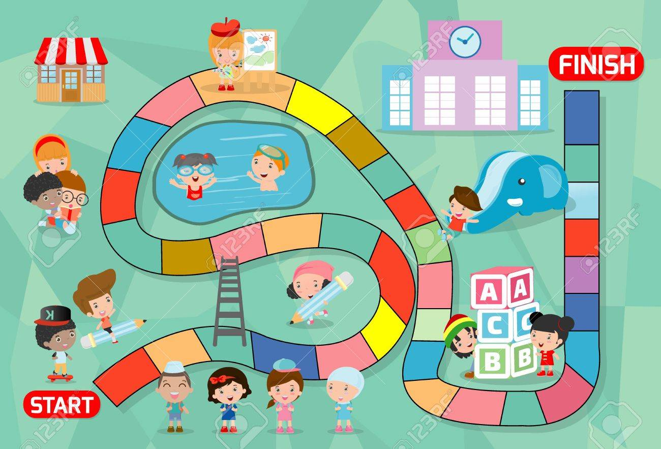 Board Game With Kids Back To School Illustration Of A Board