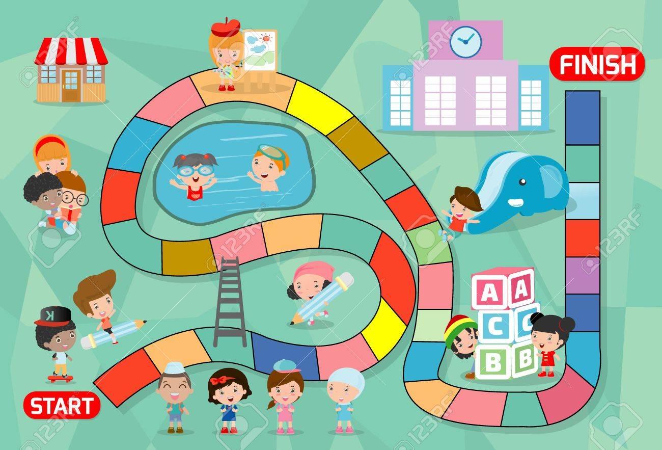 Juego De Mesa Con Ninos De Nuevo A La Escuela Ilustracion De Un