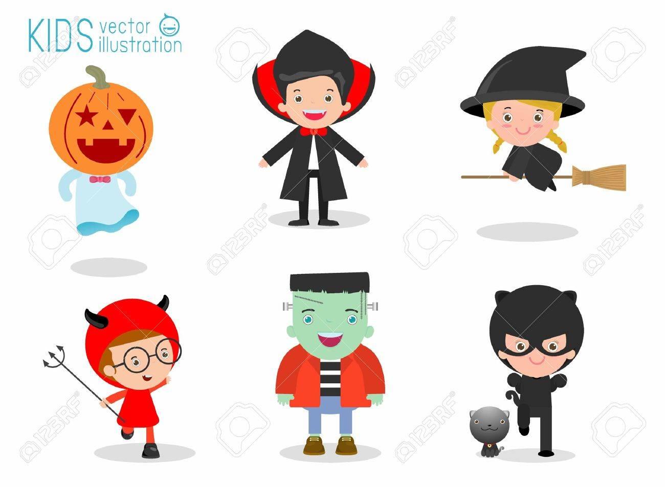 Cute kids wearing Halloween monster costume on white background, Happy Halloween,Halloween Party, child wearing Halloween monster costume, children Halloween, kids Halloween,vector illustration - 60590835