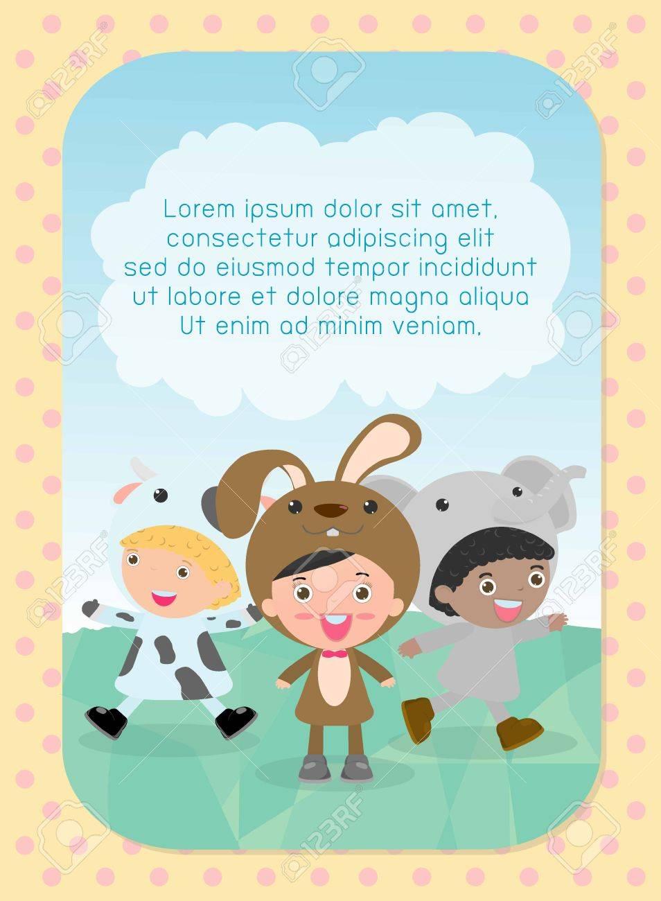 Enfants Mignons Vêtus De Costumes Danimaux Modèle De Brochure Publicitaire Votre Texte Mignon Petits Enfants Avec Des Animaux Costume Les Enfants