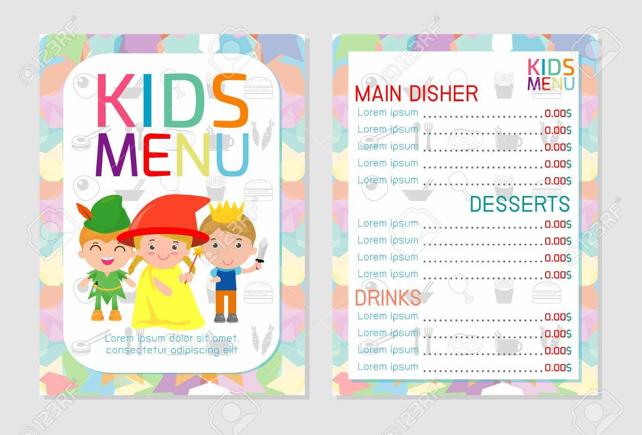 Cute Colorful Kids Meal Menu Vector Template Kids Menu Cute