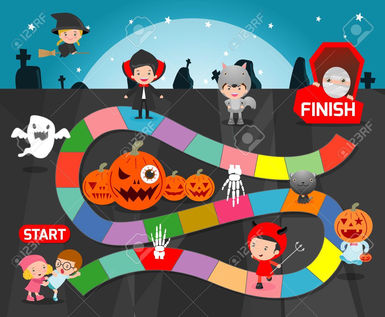 brettspiel mit halloween spiele fur kinder kinderbrettspiel illustration standard bild 63046906