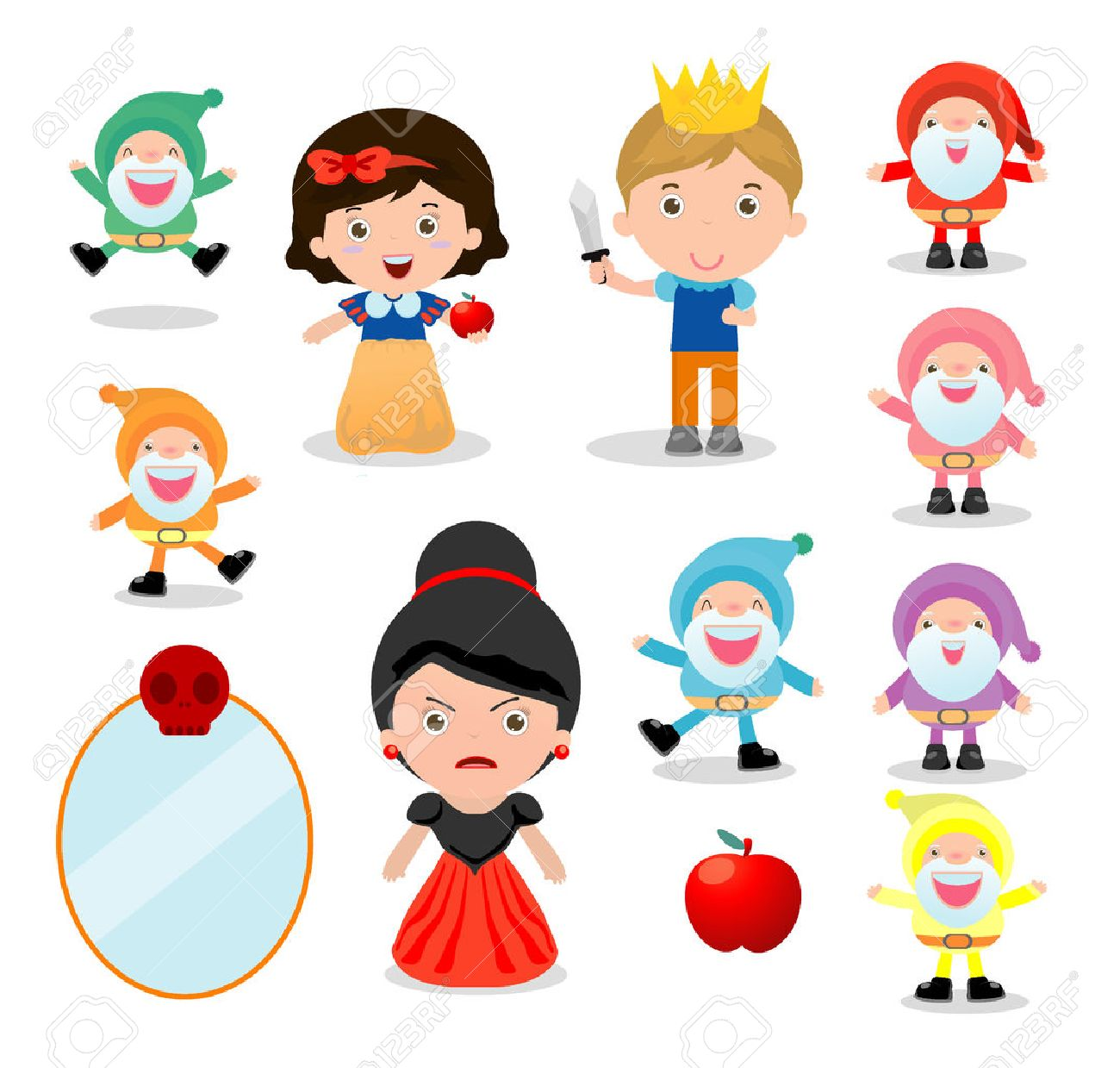 snow white and the seven dwarfs, Snow White on white background, prince, Princess and Dwarfs and witch, Vector Illustration - 67894003