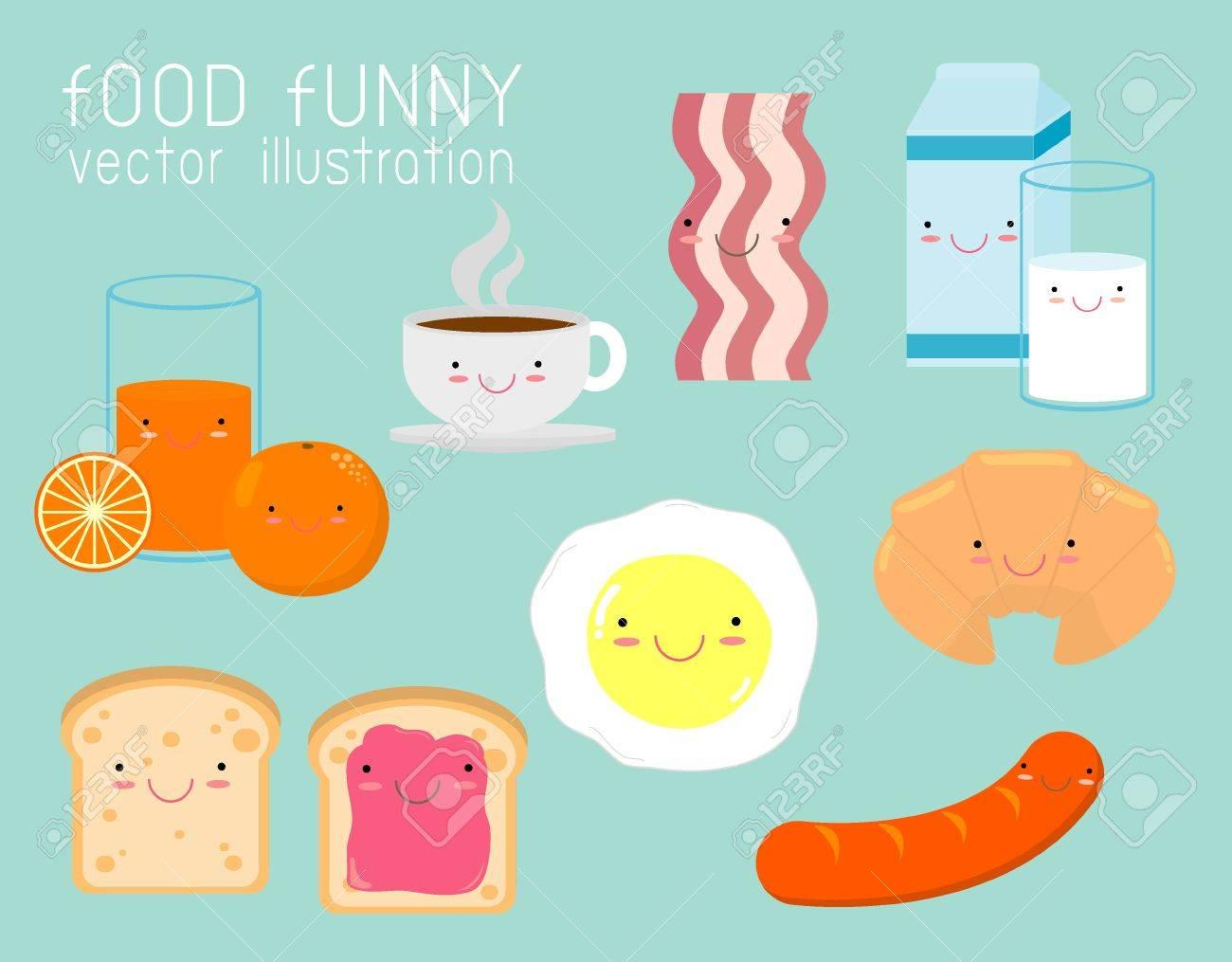 Ensemble De Petit Déjeuner Drôle Personnages De Dessin Animé Drôles De Nourriture Sur Fond Illustration Vectorielle