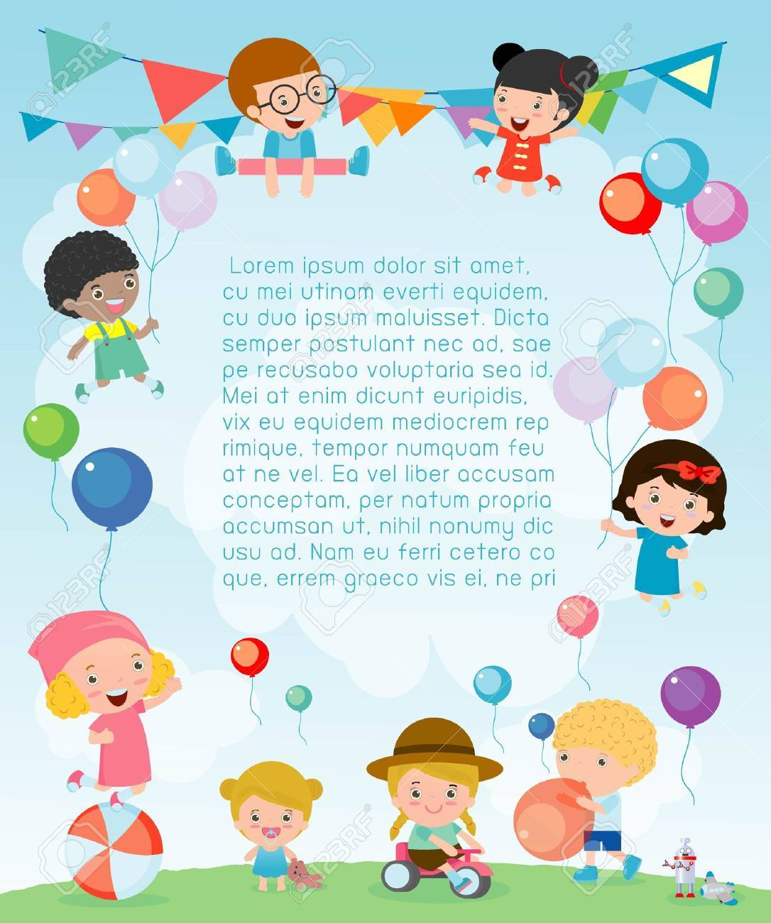 kids party happy new year on playground children happy party celebration template for advertising