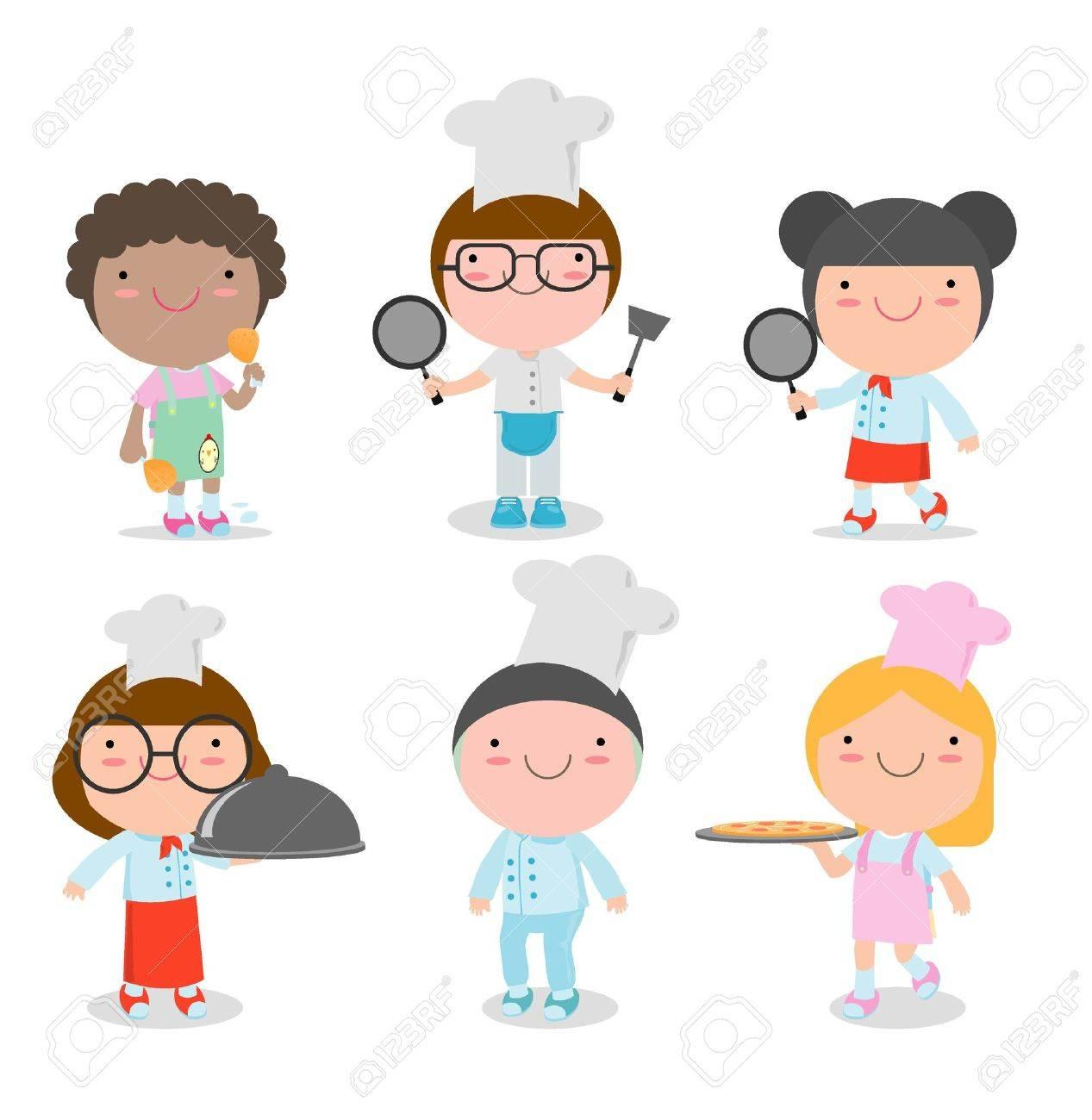 白い背景子供料理かわいい子シェフベクトル イラストのセットに