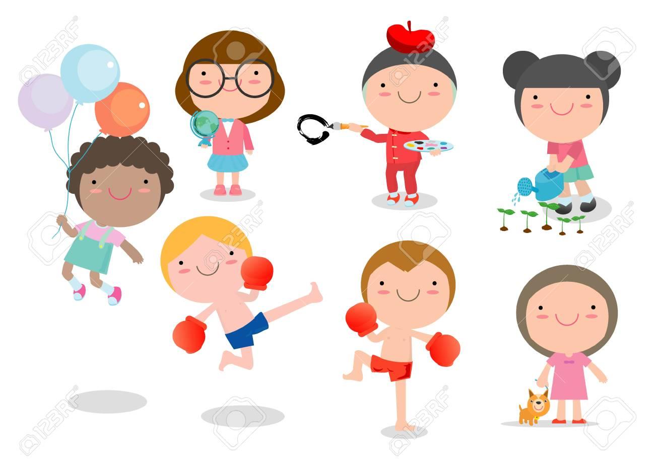 Ninos De Dibujos Animados Feliz Jugando Los Ninos Jugando En El