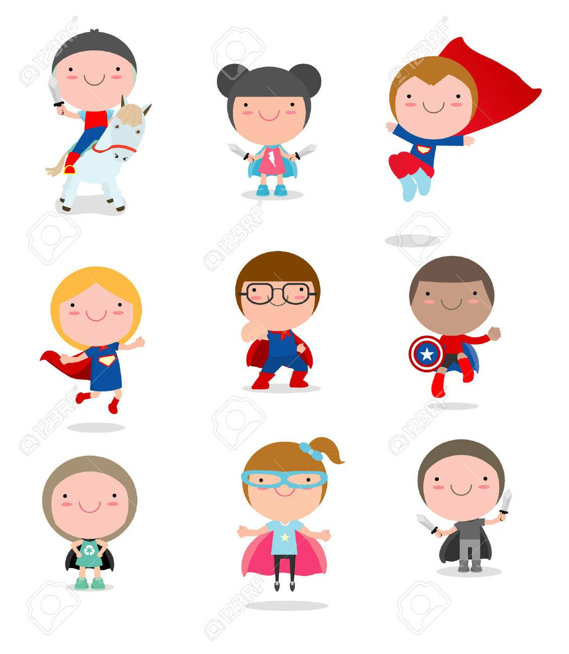 Kids With Superhero Costumes set, kids in Superhero costume characters isolated on white background, Cute little Superhero Children's collection, Superhero Children's, Superhero Kids. - 69427273