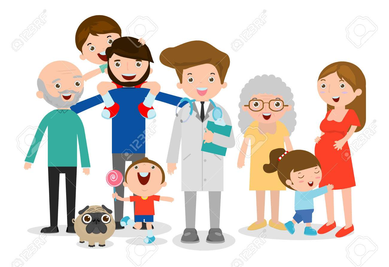 Family doctor vector illustration, big family with doctor. Doctor standing together with father, mother, children and grandparents on white background. flat style - 71580504
