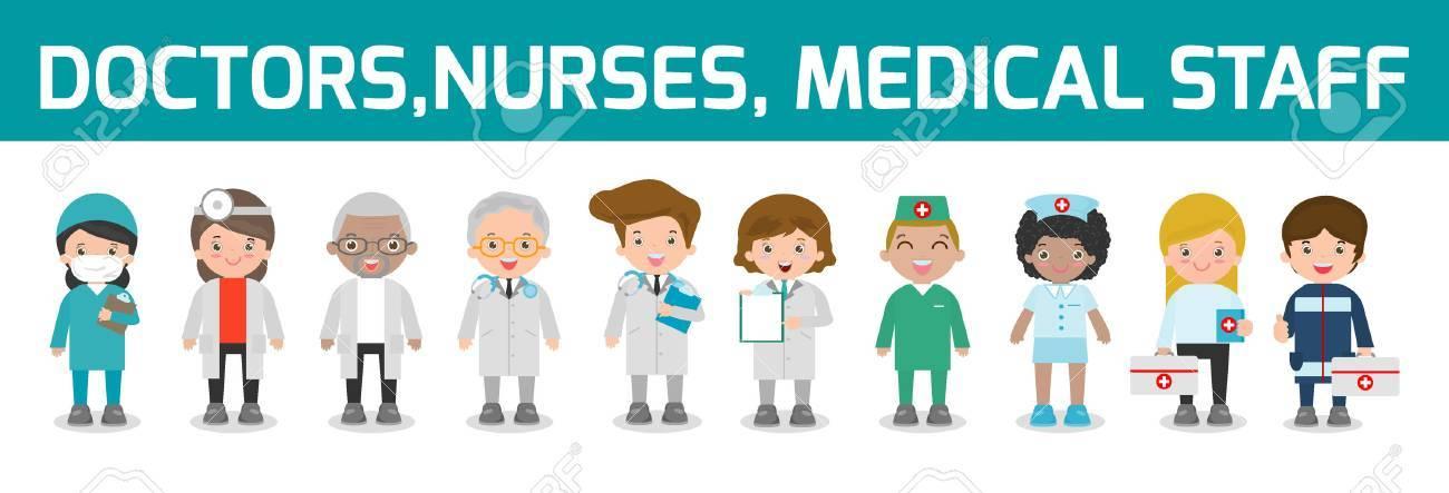 set of doctor,nurses,medicine staff in flat style isolated on white background. Hospital medical staff team doctors nurses surgeon, Vector illustration. - 71580508