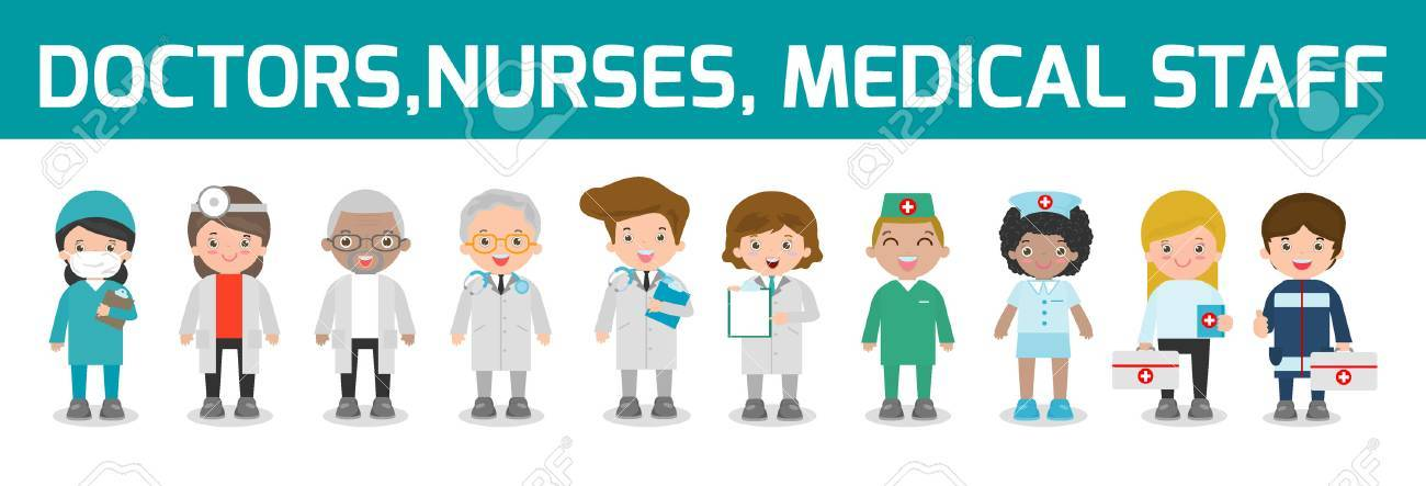 Set Of Doctor Nurses Medicine Staff In Flat Style Isolated On