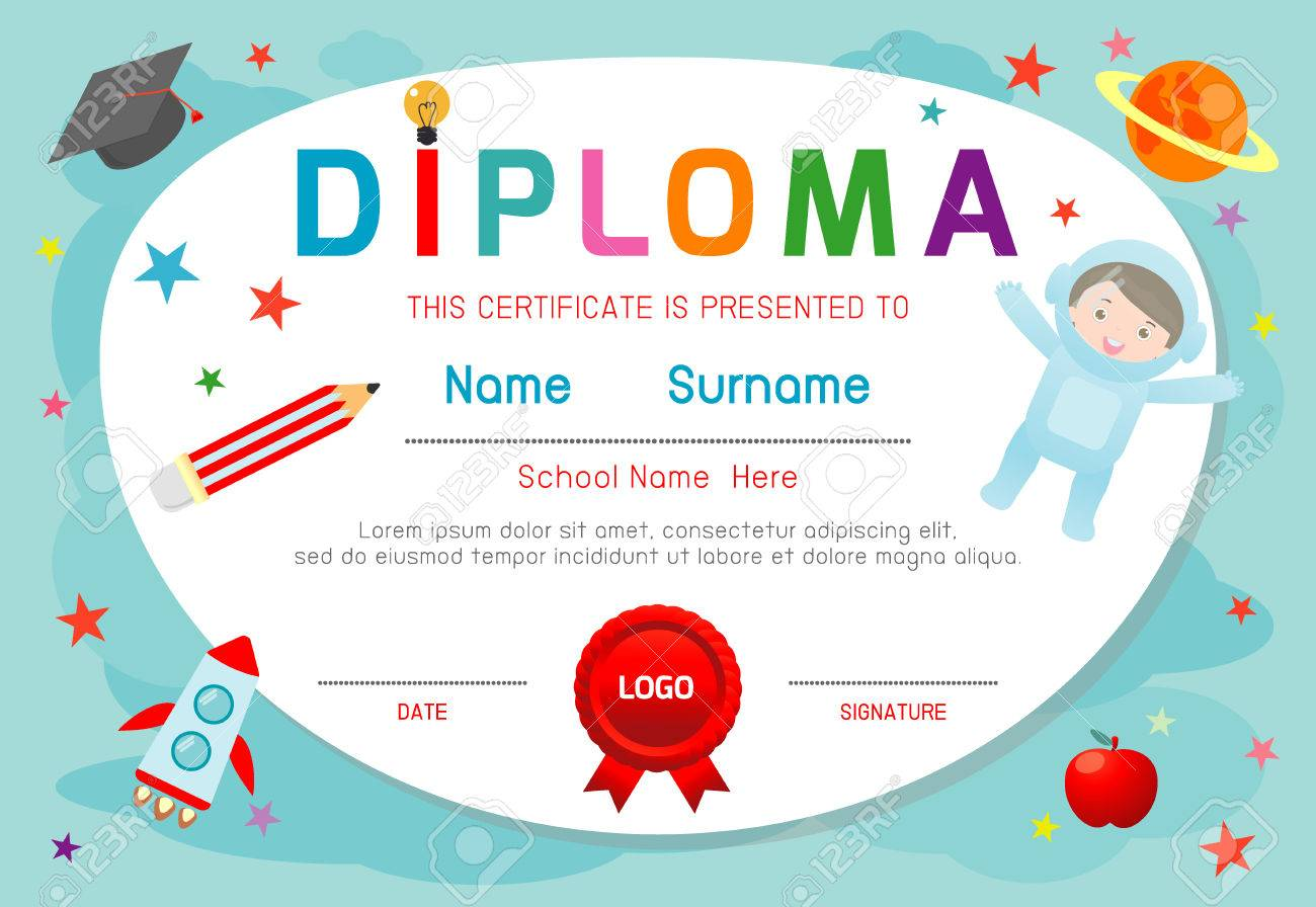 Certificate Kids Diploma, Kindergarten Template Layout Space Background  Frame Design Vector. Diploma Template For