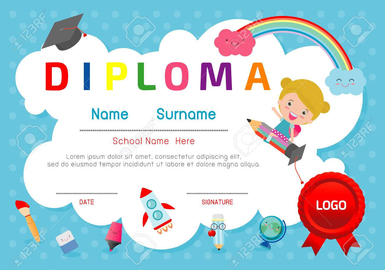 Certificate kids diploma kindergarten template layout space certificate kids diploma kindergarten template layout space background frame design vector diploma template for yadclub Images