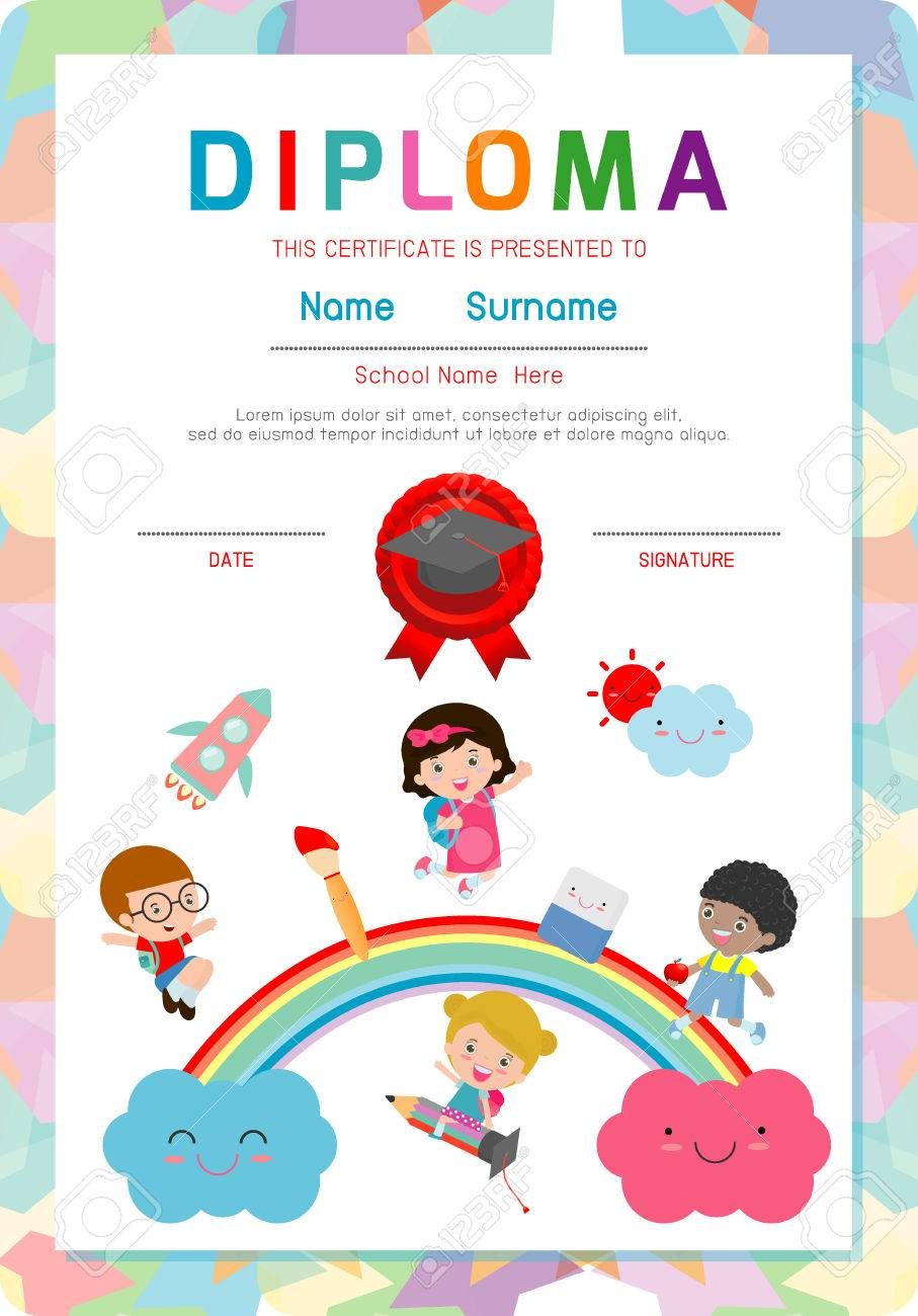 Certificate kids diploma kindergarten template layout space certificate kids diploma kindergarten template layout space background frame design vector diploma template for xflitez Choice Image