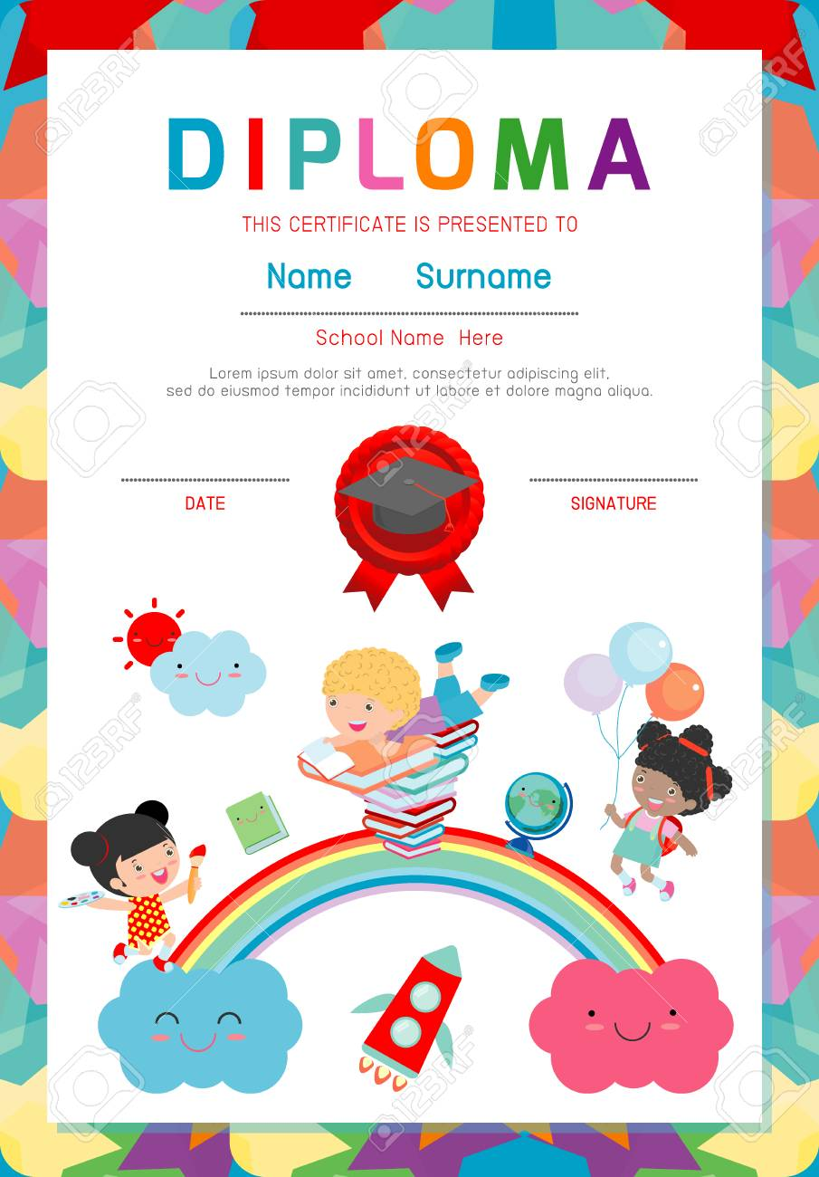 Certificate kids diploma kindergarten template layout space certificate kids diploma kindergarten template layout space background frame design vector diploma template for alramifo Image collections