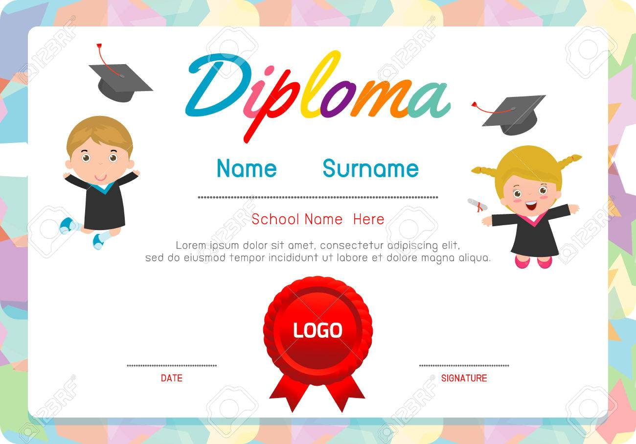 Preschool elementary school kids diploma certificate background preschool elementary school kids diploma certificate background design template preschool kids diploma certificate background design yelopaper Image collections