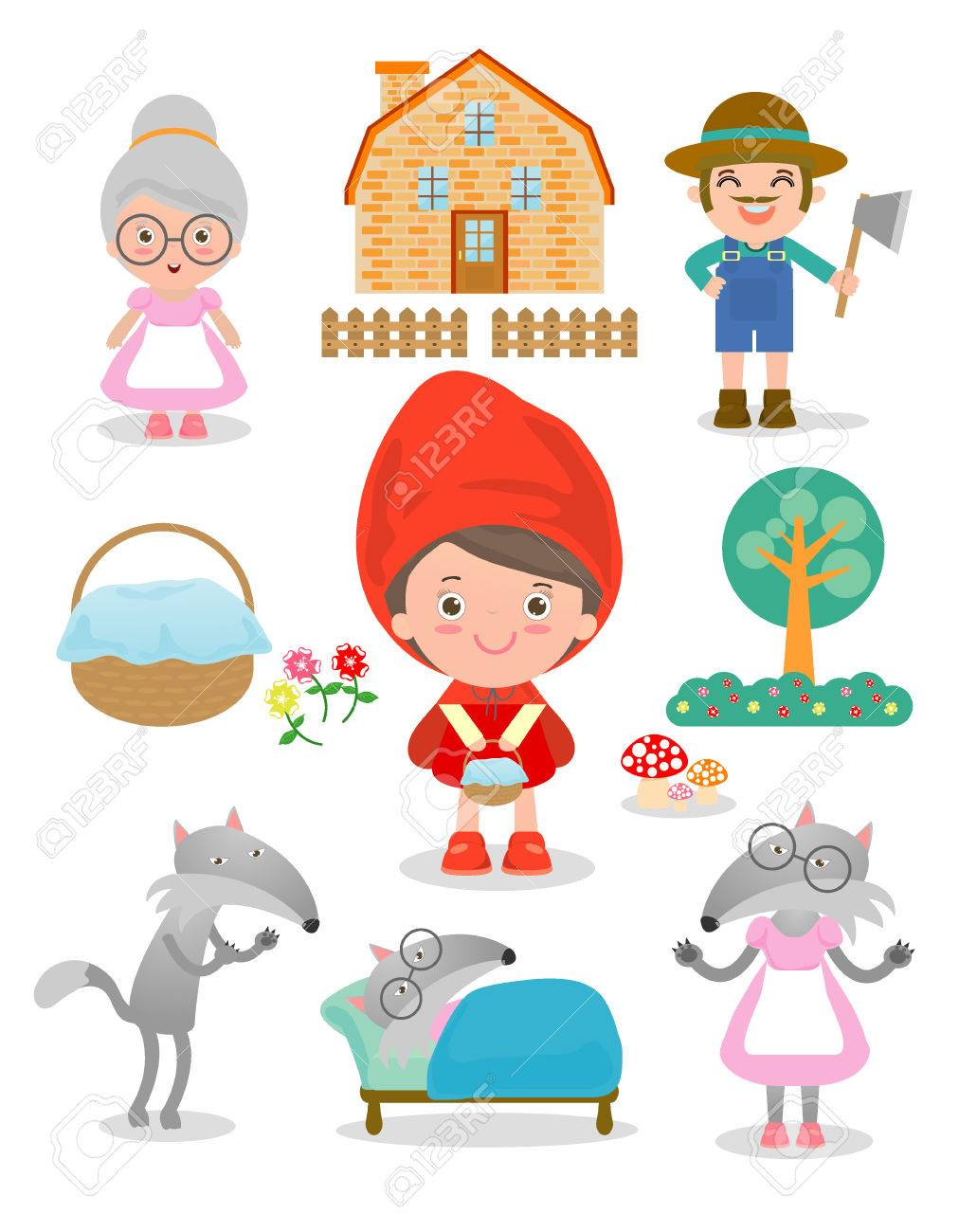 Set Of Characters From Little Red Riding Hood Fairy Tale On White