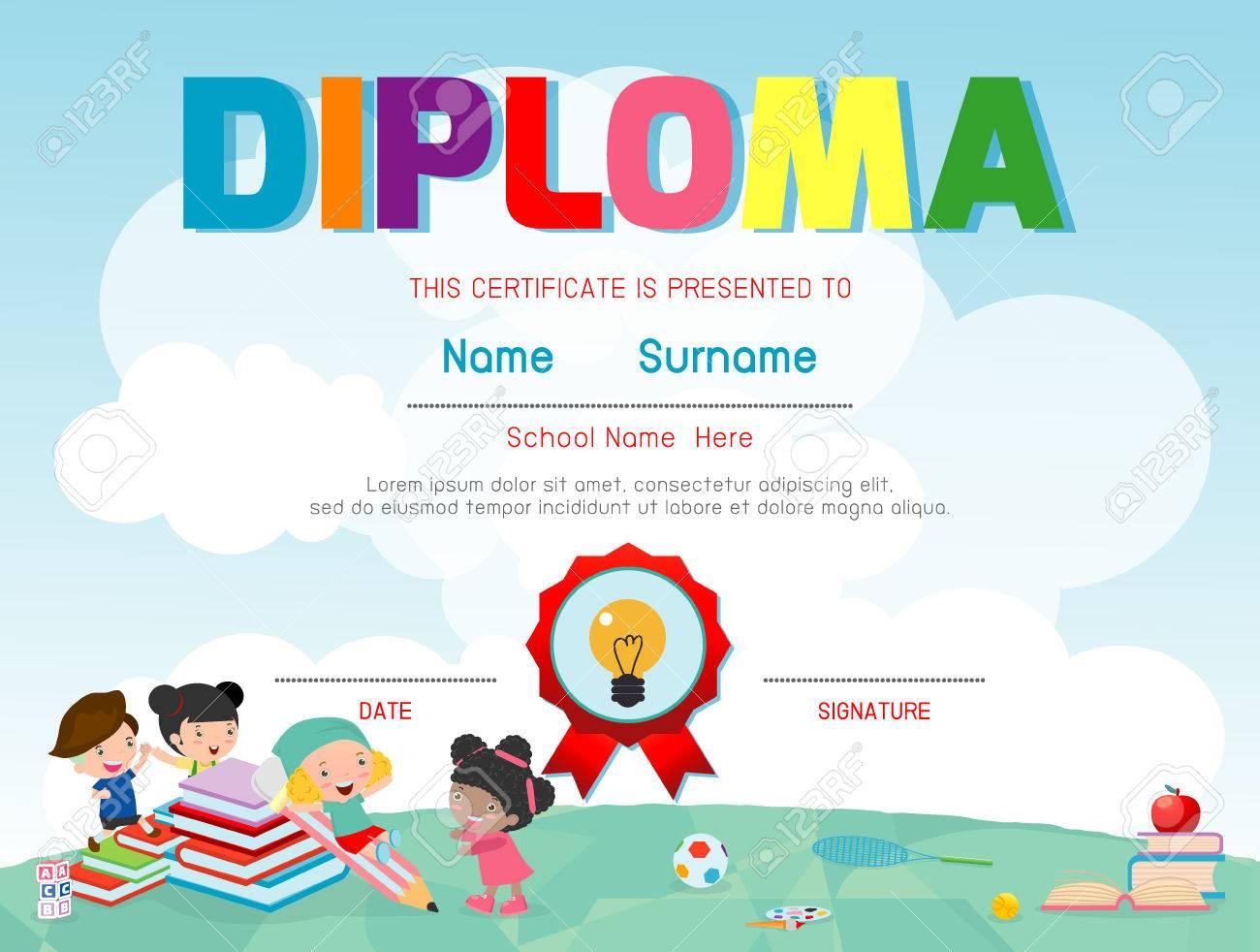 Certificates Kindergarten And Elementary Preschool Kids Diploma