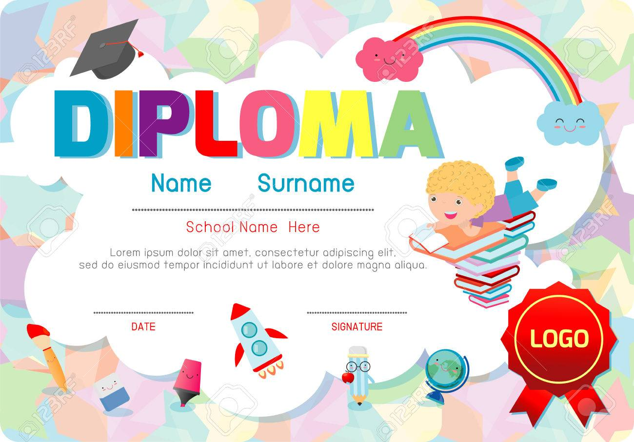 Certificates kindergarten and elementary preschool kids diploma certificates kindergarten and elementary preschool kids diploma certificate pattern design template diploma template for yelopaper Image collections