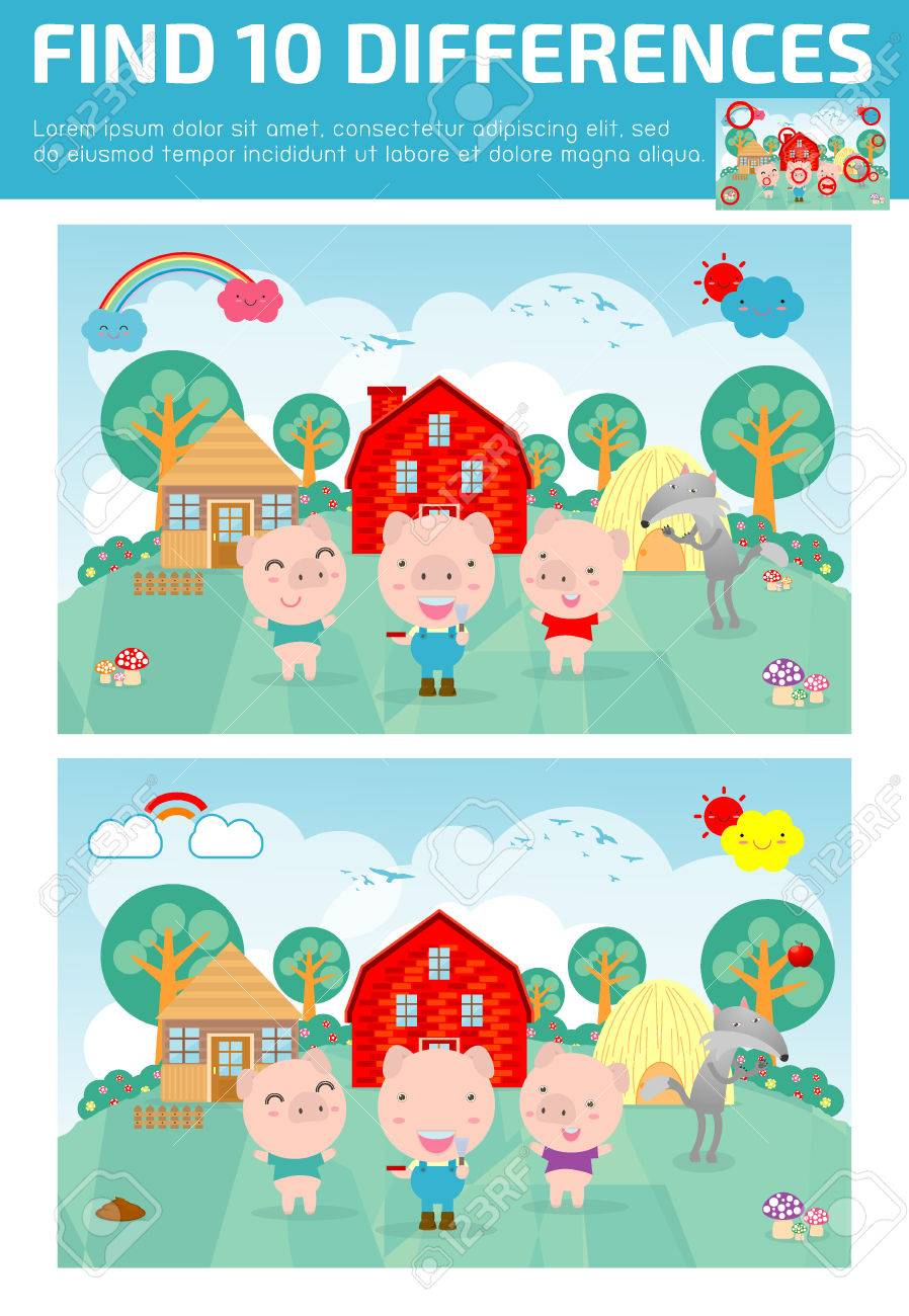 find differences,Game for kids ,find differences,Brain games, children game, Educational Game for Preschool Children, Vector Illustration,Three little pigs - 81764074