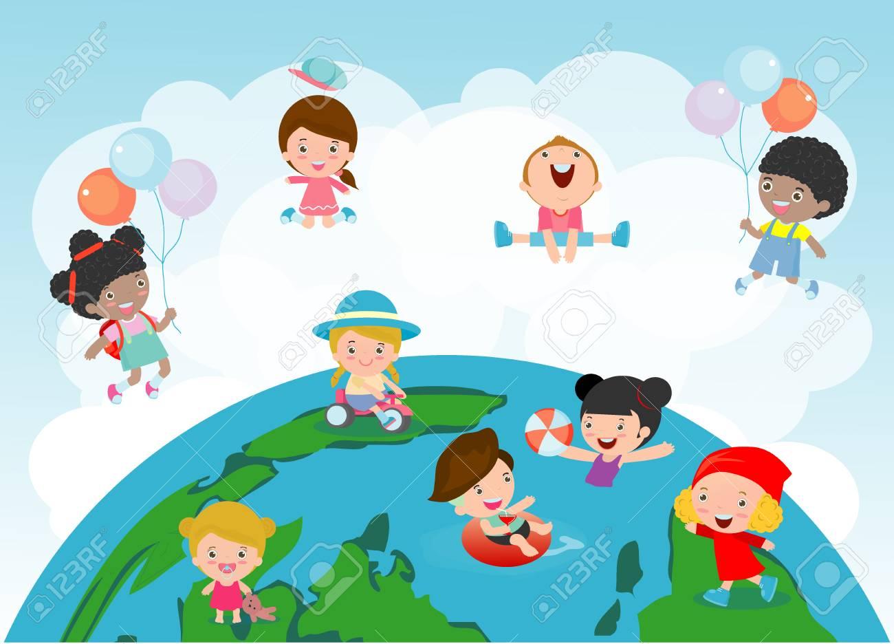 Vettoriale Bambini Felici Di Diverse Nazionalità In Un Globo