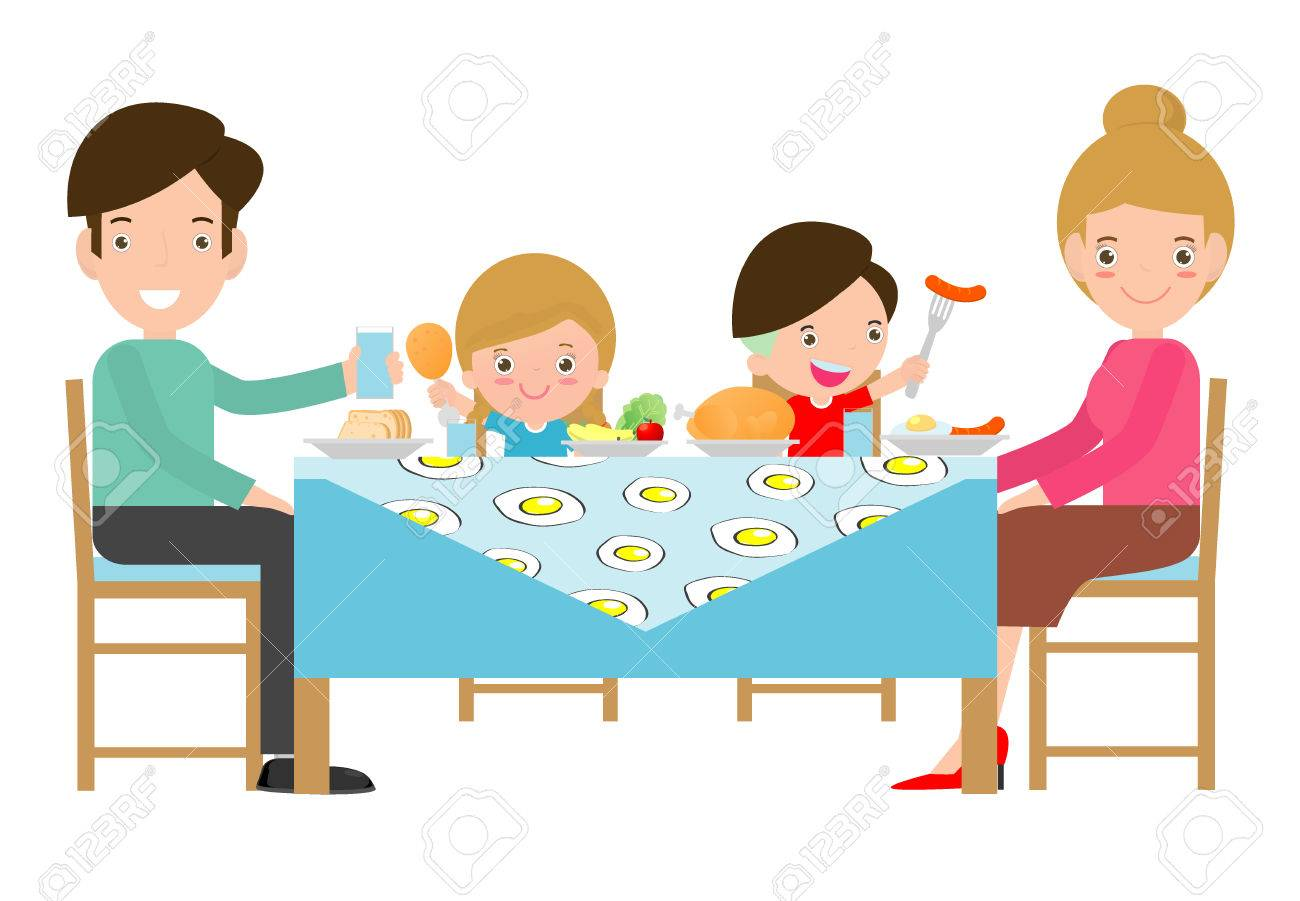 family having meal together,Father, mother and son,daughter sit at the table on white background,Vector illustration - 83475259