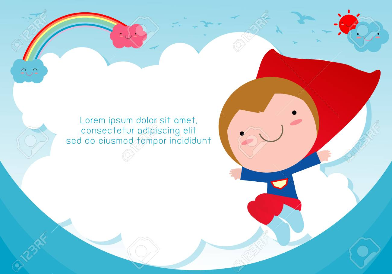 superhero kid against blue sky background template for advertising