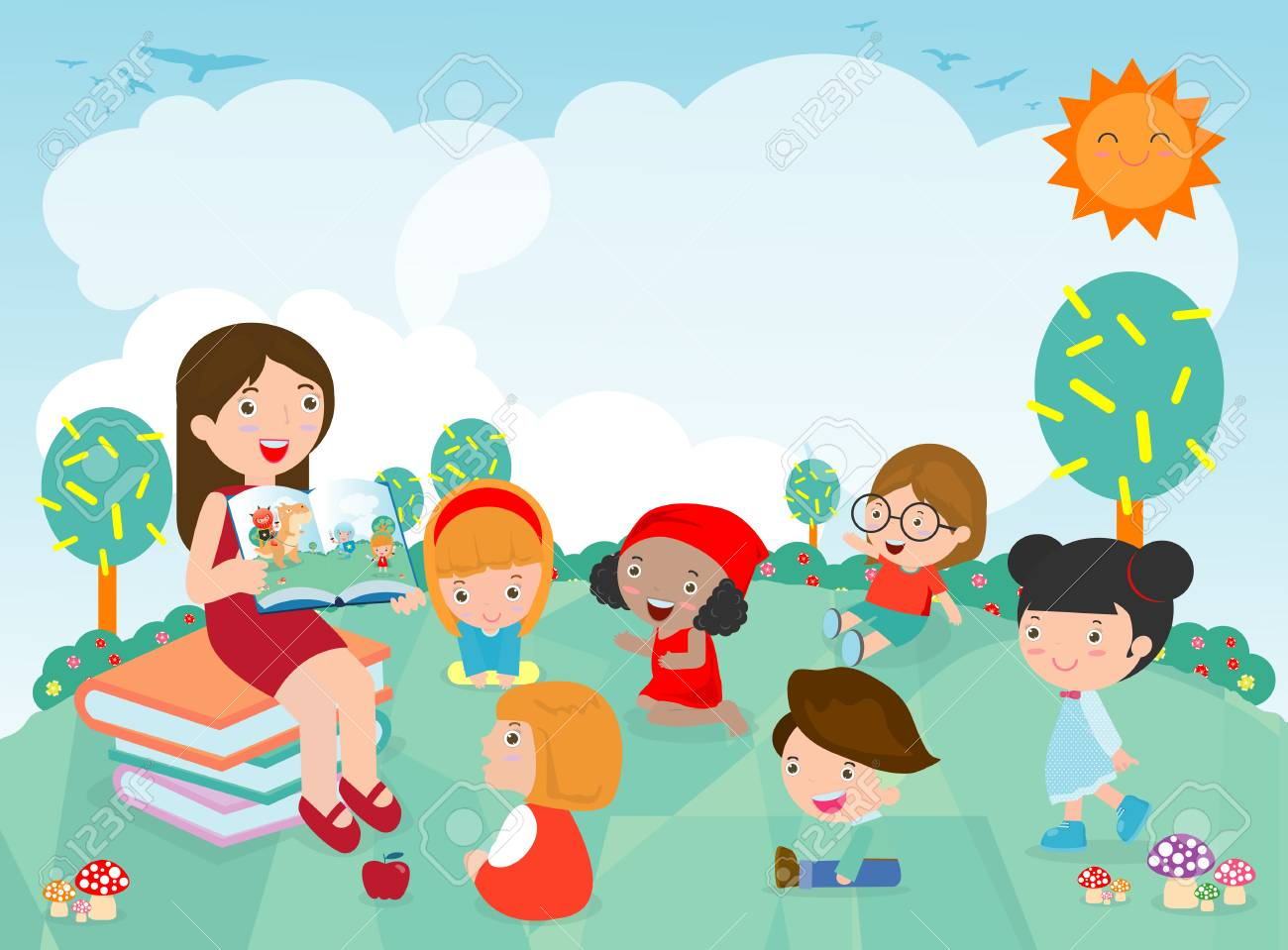 Teacher telling a story to nursery children in the garden, cute Kids Listening to Their teacher Tell a Story, teacher reading books for child in the kindergarten. Vector Illustration - 105479283