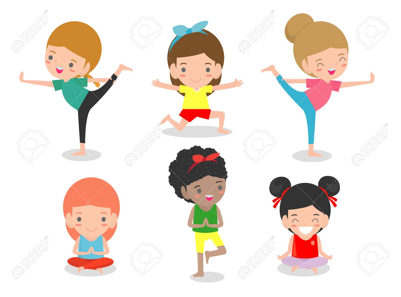 Kids Practicing Yoga Happy Cartoon Children Practicing Yoga Royalty Free Cliparts Vectors And Stock Illustration Image 105479586