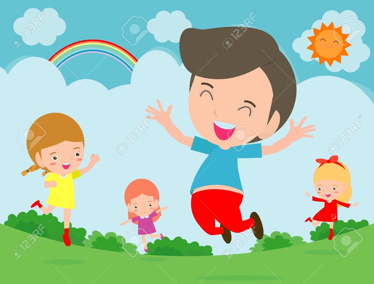 kids jumping with joy happy jumping kids happy cartoon child