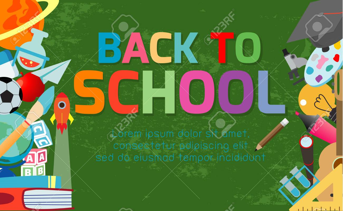 Back To School Banner Background Welcome Back To School Children Royalty Free Cliparts Vectors And Stock Illustration Image 109505079