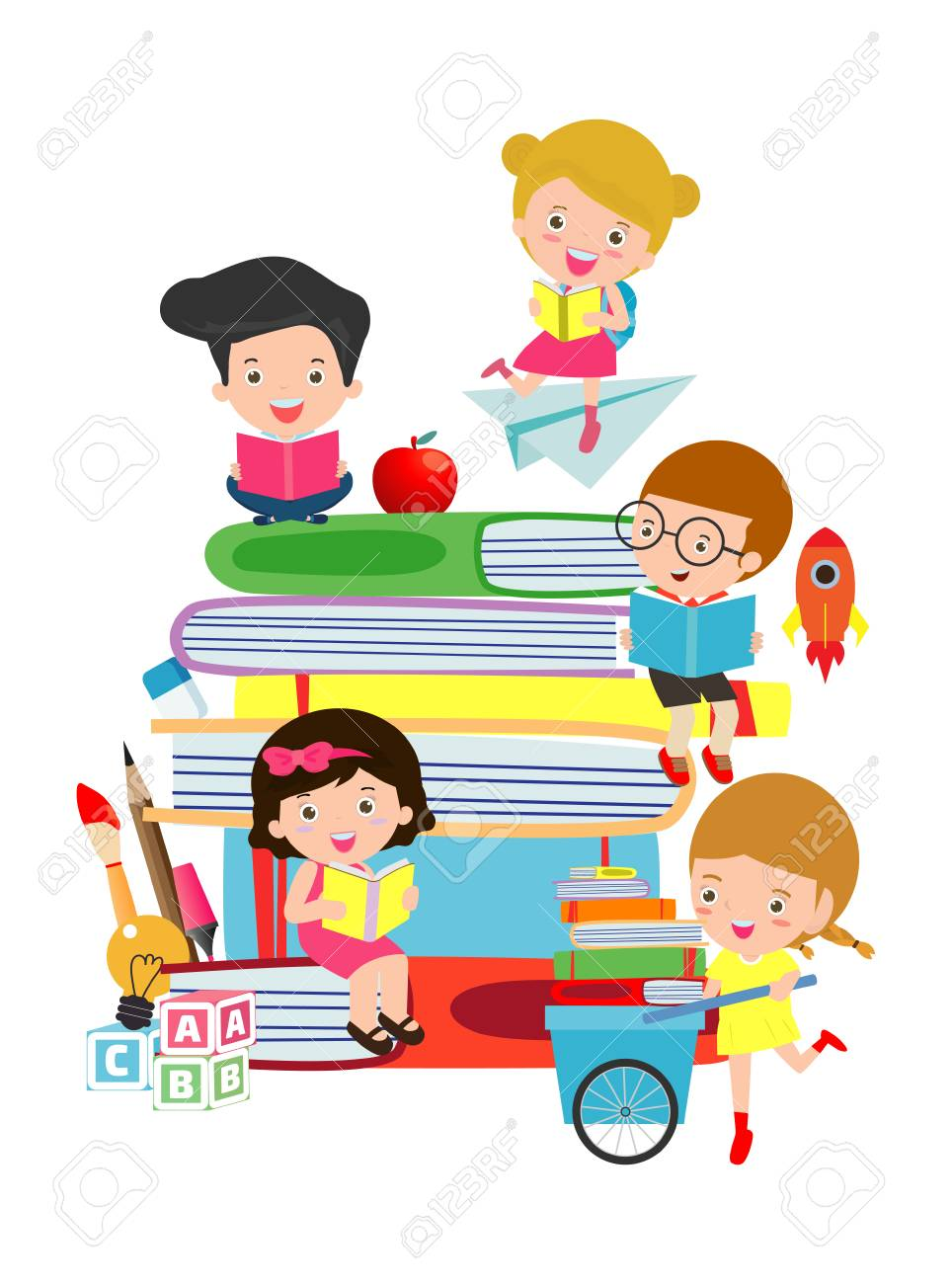 Cute Kids Reading Book Cute Children Reading Books Happy Children