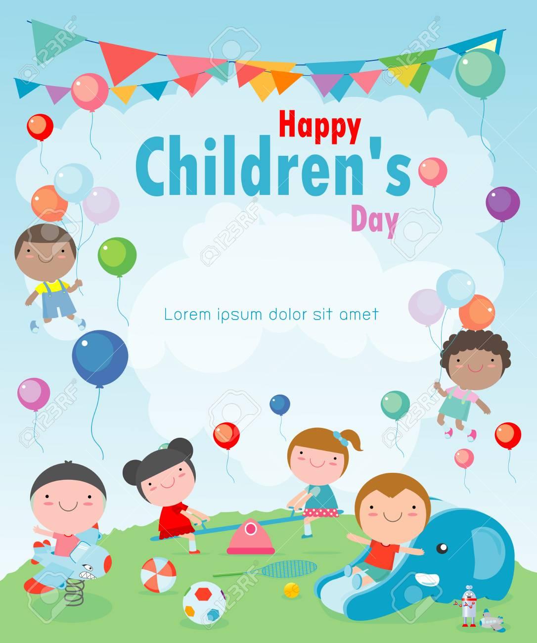 Happy children's day background, vector illustration - 113128049