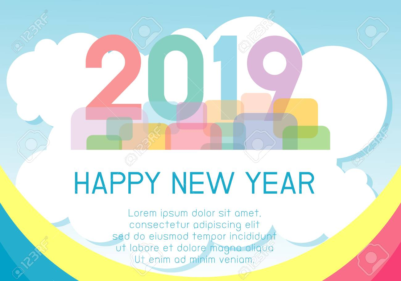 2019 happy new year design card backgroundgreeting card or calendar cover design template